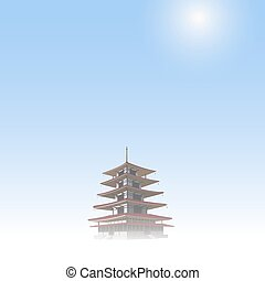 Japanese pagoda on blue sky. Vector EPS10