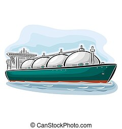 LNG carrier ship - Vector illustration of logo for LNG...