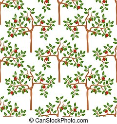 Seamless pattern with trees - Vector background