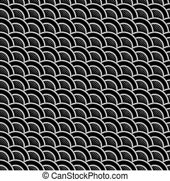 Geometric striped black seamless pattern with stylized waves