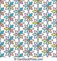 Retro seamless pattern with stylized daisies
