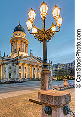 Gendarmenmarkt with streetlights - The Gendarmenmarkt in...