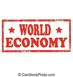 World Economy-stamp - Grunge rubber stamp with text World...