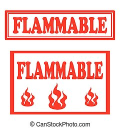 Flammable-stamps - Set of stamps with text Flammable,vector...