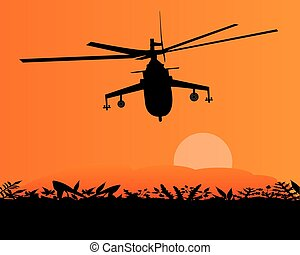 military helicopter in the sky - military helicopter flying...