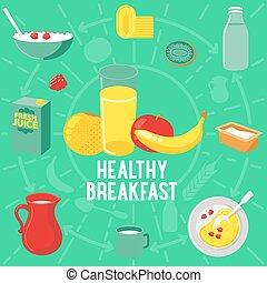Vector flat banner breakfast. HEALTLY - Vector flat banner...