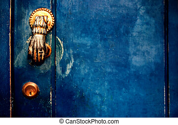 Vintage Door Handle with Dark Dusty Scratchy Texture blue...