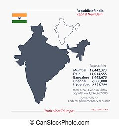 india - Republic of India isolated maps and official flag...