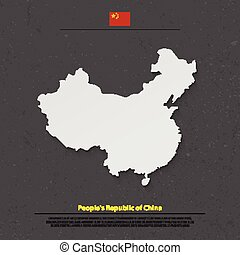china shadow - People's Republic of China isolated map and...
