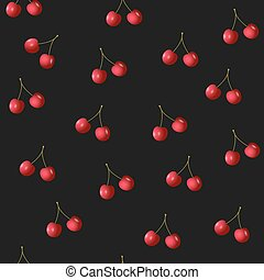 Seamless pattern with cherries on black Vector background