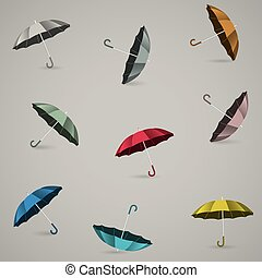 Seamless pattern with colored umbrellas