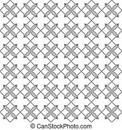 Monochrome seamless stylized flower pattern in oriental...