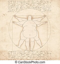 Conceptual modern Vetruvian man basis of artwork by Leonardo...