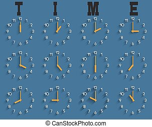 Vector set of clocks with shadow on blue background