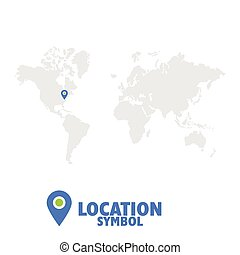 Location symbol. Map pointer, GPS location icon, world map.