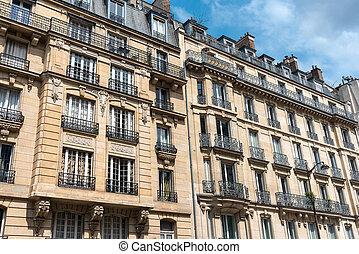 Facades of some buildings in Paris