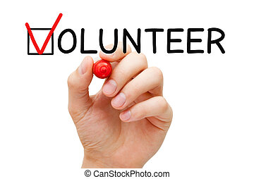 Volunteer Check Mark Concept - Hand putting check mark with...