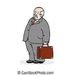 Old man with a suitcase. Business