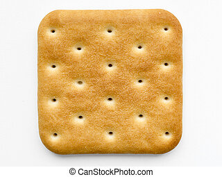 cracker isolated - single square cracker isolated on white...