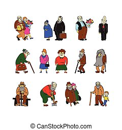 Aged people set on white vector