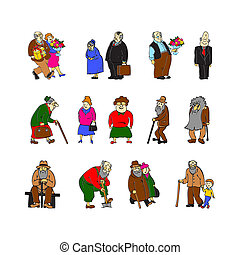 Aged people set on white vector illustration. Scene with elderly people - retired, recreation, gardening, walking elderly couple, grandfather and grandson, couple with bouquet, gift, elderly sitting