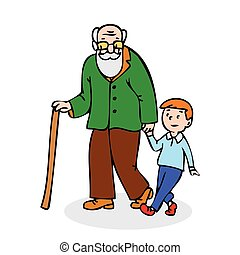 Grandfather with grandson. Funny old man with walking cane...