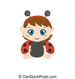 Baby dressed as ladybug.