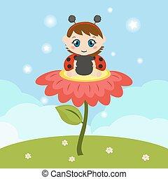 Baby dressed as ladybug