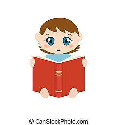 Cute baby sitting and reading book. - Vector illustration of...