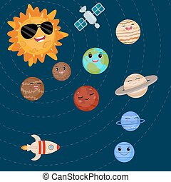 Cartoon smiling planets and sun.