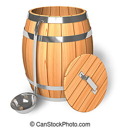 Opened wooden barrel with scoop