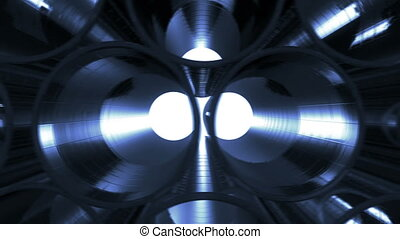 Metal Pipes with blue reflections and flares inside Looped...