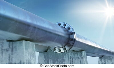 Endless Pipeline at the Sun Shining and Blue Sky. Looped 3d...