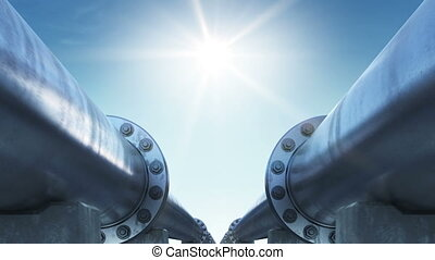 Moving at the Endless Pipeline to the Shining Sun. Looped 3d...