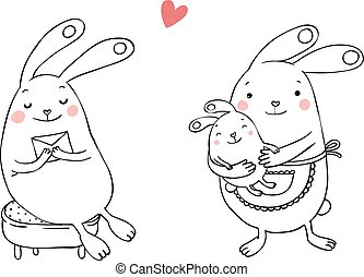 Cute bunnies. Letter and baby. - Hand drawing isolated...