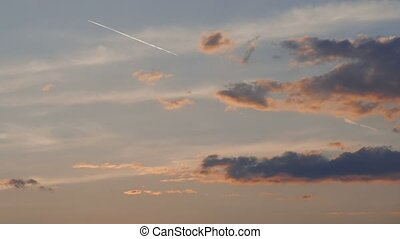 evening sky at sunset slow motion video - evening sky at...