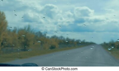 view from the car on the road slow motion video - view from...