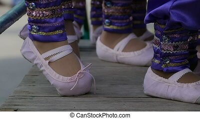 legs girls in pink ballet flats slow motion video - legs...