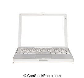 Laptop - White laptop, with white screen, isolated over...