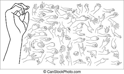 Hands vector set - The vector illustrated set of outlined...