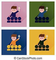 płaski, Pojęcie, katolik, ikony, długi, Ksiądz, cień