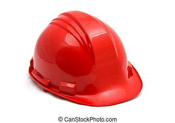 Red helmet - Red construction helmet shot isolated on white
