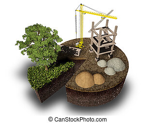 construction and nature , 3d rendering of eco concept