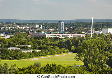 Aachen Tax Office And CHIO Bridge - High angle view from...