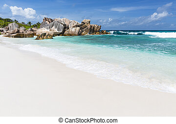 Anse Cocos, La Digue, Seychelles - Emerald water and rocks...