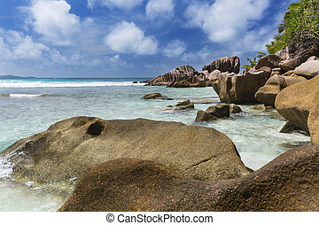 Granite Boulders in La Digue, Seychelles - Shallow water and...