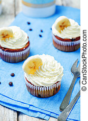chocolate chips banana cupcakes. toning. selective focus