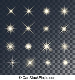 Vector lighting effects. Set of golden glints on transparent...