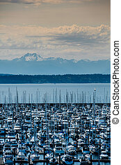 Olympic Mountain Range from Seattle Shore - Olympic Mountain...