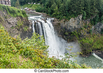 Waterfall At Snoqualmie - Water explodes into a waterfall in...